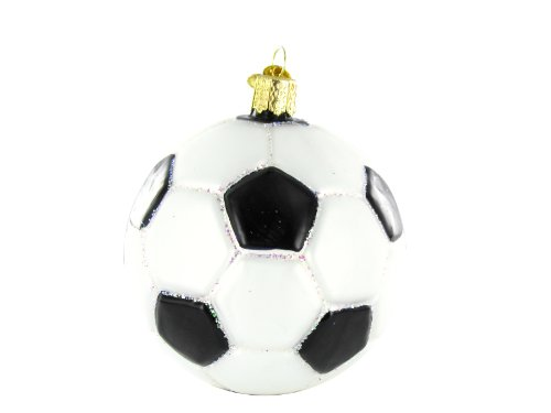 Old World Soccer Ball Glass Blown Christmas Tree Ornament Deal (Large Image)