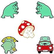 Frog Enamel Pin Mushroom Enamel Pin Cute Kawaii Frog Mushroom Pins for Backpacks Pins Set for Jackets Clothes