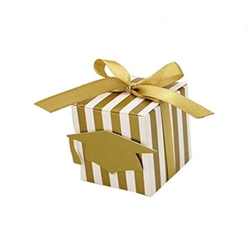 NUOLUX 50pcs Gold Stripe Gift Boxes Paper Boxes with Doctoral Cap Tag for Graduation Party Bags
