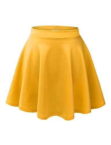 MBJ WB211 Womens Basic Versatile Stretchy Flared Skater Skirt S -