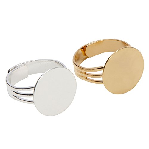 Gold and Silver Plated Ring Blanks with 16mm Flat Adjustable Ring Base 6 Pieces Gold and 6 Pieces Silver - 12 Blank Rings Total (Gold Ring Base)