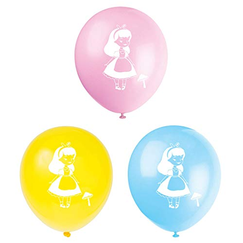 Alice in Wonderland Latex Balloons, 15-Pack 12inch Tea Birthday Party Balloon, Decorations, Supplies