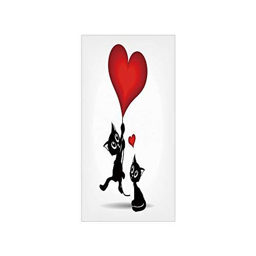 3D Decorative Film Privacy Window Film No Glue,Valentines Day Decor,Baby Cats Holding Heart Shaped Baloons Romance Love Themed Image,Red and Black,for -