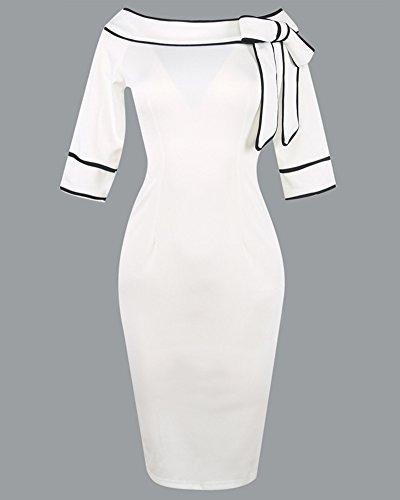 Damen Etuikleid Kurzarm Bodycon Tunikakleid Pencil Kleider Bodycon Knielang  Figurbetontes Cocktailkleid Weiß iHIpjSt ... 7d502cf24a