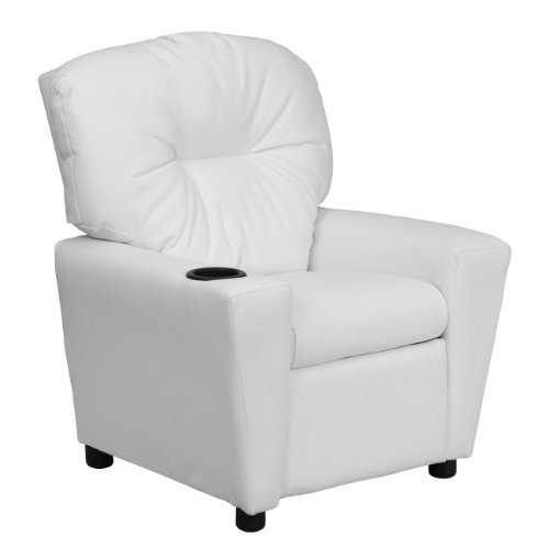 MFO Contemporary White Vinyl Kids Recliner with Cup Holder