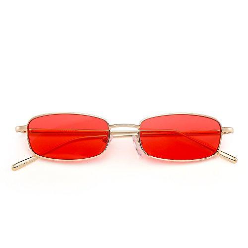 Hombre Gafas Anteojos de Lentes Dorado Delgado Sol Rectangular Mujer Claro Metal Rojo Pequeño Teñido PPrB1xq