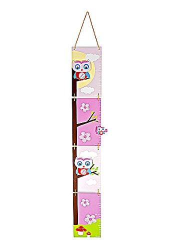 Metro per altezza per bambini in legno rosa con gufo per la cameretta o la stanza da letto di bambine Mousehouse Gifts MH-100361