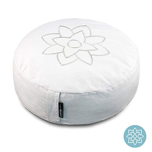 Large White Meditation Pillow Cushion by Mindful and Modern - Zafu Buddhist Yoga Bolster for Best Posture - Buckwheat Hull Filled Round Cushion with Removable Cover and Carry Handle