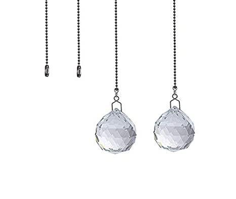 Crystal Ceiling Fan Pull Chains Pack of 2 20mm Clear Crystal Prism with 2 Free Pull Chain Extension Adjustable Length Crystal Ceiling (Purple) Gusnilo