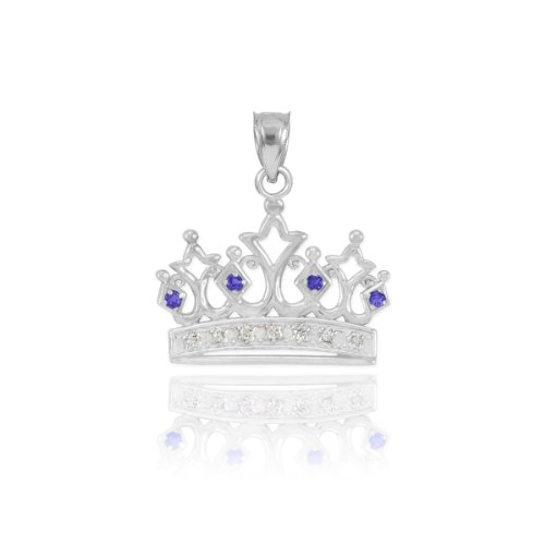 Dainty 10k White Gold Blue Sapphire and Diamond Tiara Charm Crown Necklace Pendant