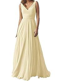 894d7835a0 Long Chiffon Bridesmaid Dresses Double V Neck Wedding Party Dresses