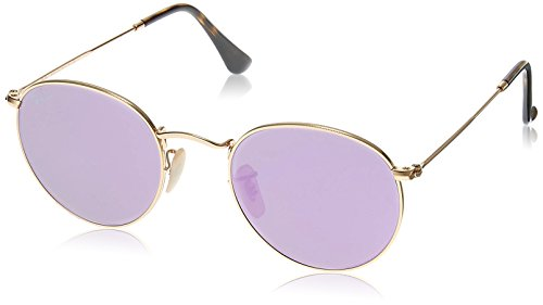 Ray-Ban RB3447N 001/8O Non-Polarized Round Sunglasses, Gold/Lilac Mirror, 50 - Flat Ray Round Lenses Ban