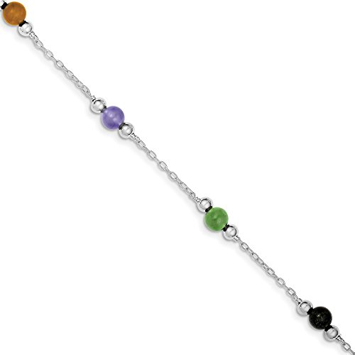 925 Sterling Silver 9 Inch Multi Color Jade Anklet Ankle Beach Chain Bracelet Fine Jewelry Gifts For Women For Her