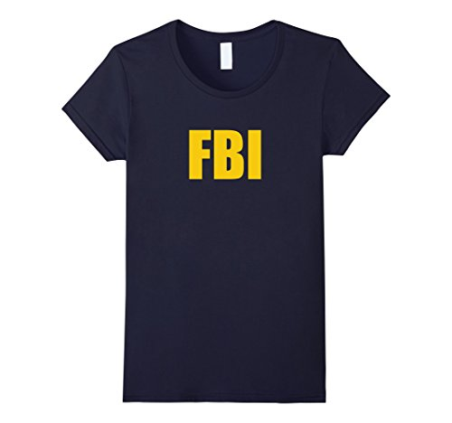 Womens FBI Agent Funny Halloween Costume Navy Gold Tee Shirt Small (Fbi Agent Womens Costume)