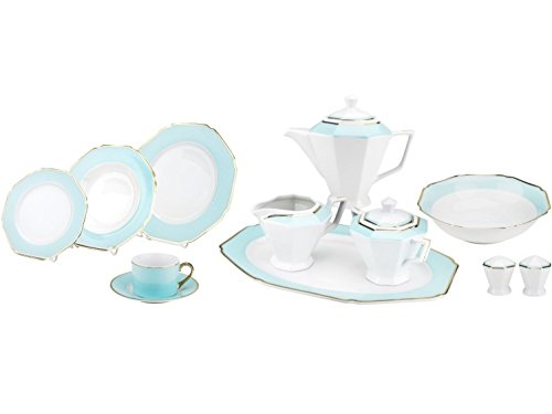 Celine Collection 49 pcs Octagon Shape Dinner Set, Service for 8 person, Teal(G1636H)