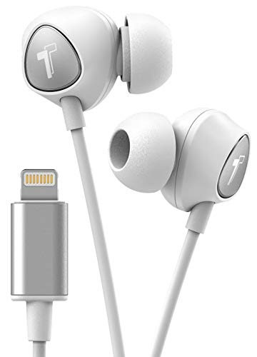 Thore V100 iPhone Earbuds  Lightning Connector MFI Certified by Apple Earphones (2018) Ergonomic Wired Headphones in Ear with Microphone/Volume Control & Mic  White