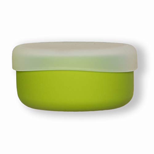 modern-twist Silicone Toddler Snack Bowl with Lid, Green, 100% Pure Spill-proof Dishwasher Safe, Plastic Free