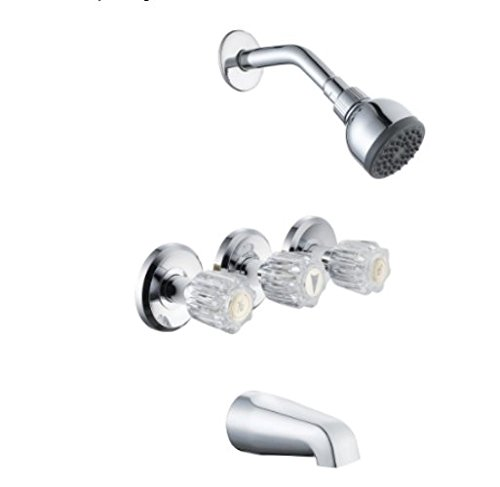Glacier Bay 834X-0001 Aragon 3-Handle 1-Spray Water Sense Tub and Shower Faucet in Chrome by Glacier Bay