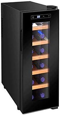 JJSFJH Enfriador de Vino Bebida Frigorífico 12 Botellas de Cerveza Soda Bodega Nevera No empotrable Chiller Acero Inoxidable y Tranquilidad Mostrador Funcionamiento del compresor Puerta de Vidrio