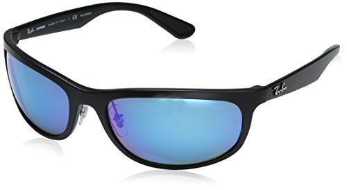 Ray-Ban RB4265 Chromance Lens Wrap Sunglasses, Black Frame/Blue Mirror Lens - Blue Ray Lens Ban Mirror