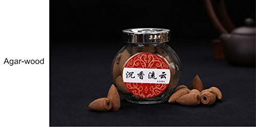 Morrenz Natural Perfume Sandalwood Agarwood Backflow Tower Incense Cone Smoke Spices Glass Bottle [Agarwood]
