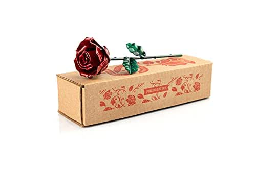 Rosa Eterna de Hierro Forjado - Forjada a Mano (Roja/Verde)