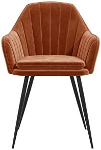 LOGAN Orange Velvet Tub Chairs with Black Legs - Set of 2