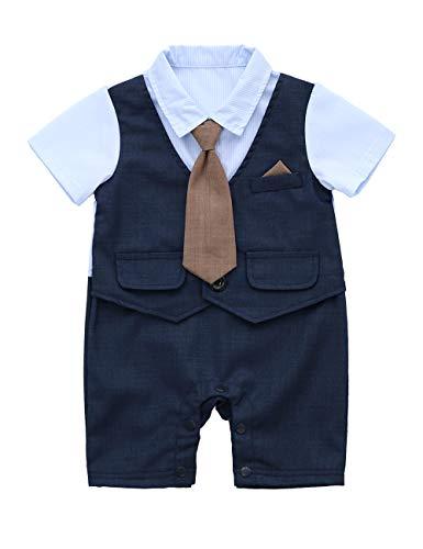 HMD Baby Boy Gentleman White Shirt Waistcoat Bowtie Tuxedo Onesie Jumpsuit Overall Romper (Dark Blue, 9-12 M)