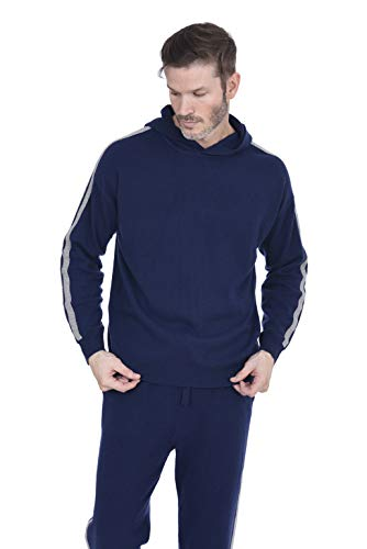 (Cashmeren Men's Wool Cashmere Knitted Loungewear Hoodie (Navy/Heather Grey, Small))