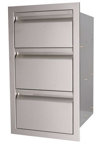 RCS Gas Grills VTD3 Valiant Stainless Fully Enclosed Triple Drawer