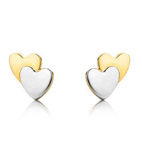 Miore - Boucles d' Oreilles Enfant - Coeurs - Or 2 couleurs 750/1000 - 0.52 gr