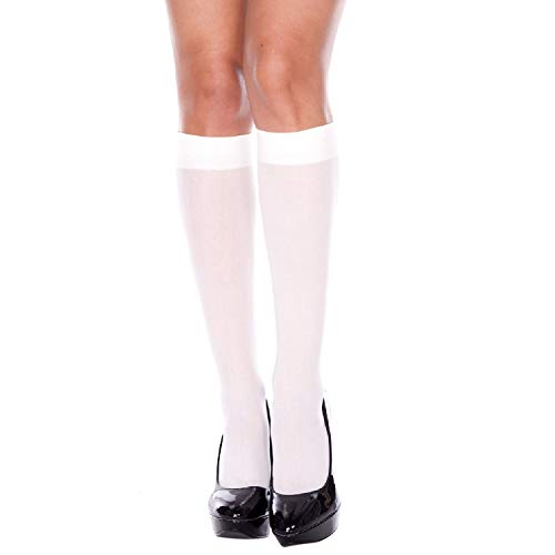 Music Legs Women's Opaque Knee Highs Ivory One Size Fits Most ()
