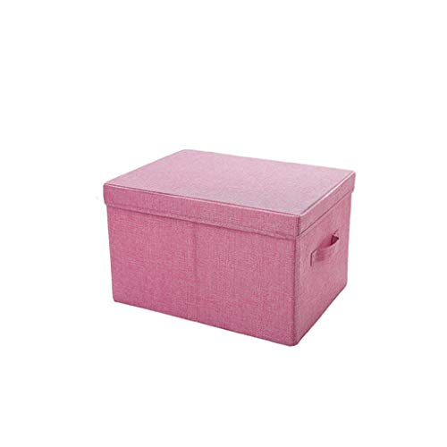 TLTLSNL Storage Box, Fabric with Lid Clothes Storage Box Foldable Household Debris Storage Box, Multi-Color Optional (Color : Pink, Size : L)