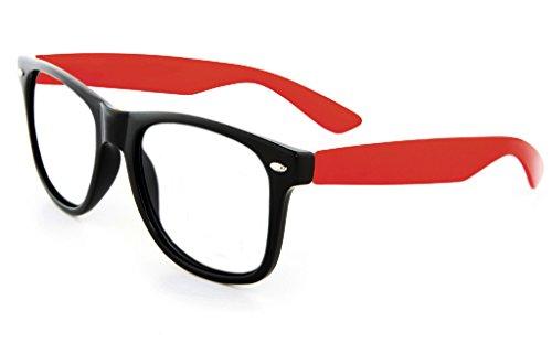 Retro Horned Rim Retro Classic Nerd Glasses Clear Lens (Black/Red, Clear) ()