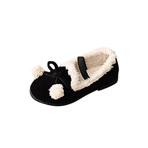 G-Real Baby Girls Shoes Prewalker Newborn Infant Soft Sole Shoes Winter Warm Bowknot Shallow Elastic Princess Short Shoes Black ()