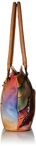 Women's None Wide Natural Shoulder Anuschka Us Butterfly Tote Anna Handpainted Leather Handbag Peacock Pxwd1pB