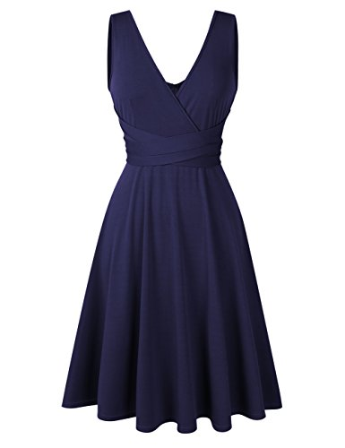 Women Plus Size Sleeveless V Neck Empire Ruched Waist Fit Summer Sun Cocktail Party Dress (Large, Navy) ()