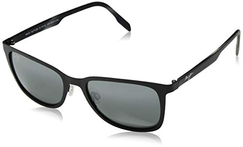 Polarized Lens Satin Black Frame - Maui Jim Naupaka 775-2M | Polarized Satin Black Classic Frame Sunglasses, Neutral Grey Lenses, with with Patented PolarizedPlus2 Lens Technology