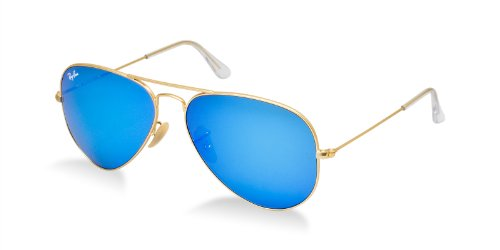 Ray-ban Blue Mirror Flash Aviators 3025 112/17 58mm + SD Glasses + Cleaning - Aviator Ray Flash Blue Ban