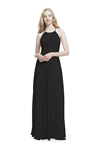 Samantha Paige Criss-Cross Pleated Spaghetti Halter Chiffon Dress, Black, (Halter Quinceanera Gown)