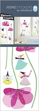 con fate e fiori Nouvelles Images Adesivi elettrostatici decorativi per vetri finestre per bambini