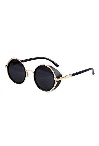 SODIAL(R) Gafas de sol de Steampunk clasica Redonda de Estilo vintage de los anos 80 -Negro con el borde de oro