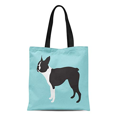 (Semtomn Cotton Canvas Tote Bag Bulldog Boston Terrier Dog Breed French American Black Canine Reusable Shoulder Grocery Shopping Bags Handbag Printed)