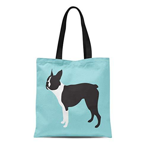 Semtomn Cotton Canvas Tote Bag Bulldog Boston Terrier Dog Breed French American Black Canine Reusable Shoulder Grocery Shopping Bags Handbag ()