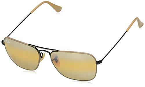 Ray-Ban RB3136 Caravan Square Sunglasses, Black & Matte Beige/Yellow Gradient Mirror, 55 ()