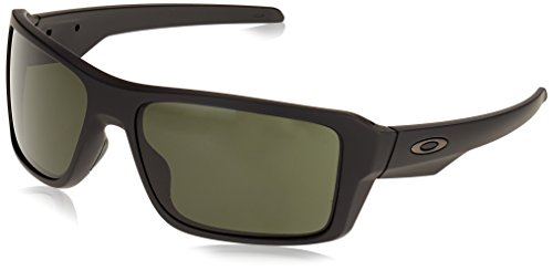 Oakley Men's OO9380 Double Edge Rectangular Sunglasses, Matte Black/Dark Grey, 66 mm