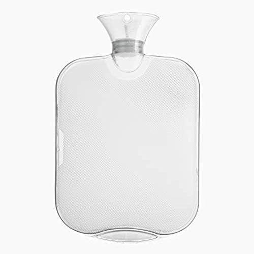 Littlelucifa Wärmflasche mit Deckel Klassischer Gummi Transparent gerippt Oberfläche Beide Seiten 2 Liter Wärmflaschen Six Color Krug - Weiß