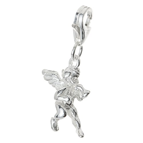 - .925 Sterling Silver Cute Little Angel Dangle Bead Pendant Clasp European Lobster Trigger Clip On Charm
