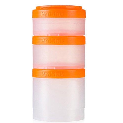 BlenderBottle ProStak Twist n Lock Storage Jars Expansion 3-Pak with Pill Tray, Clear/Orange