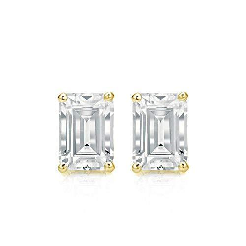 4.00 Ct Emerald Cut Earrings Studs Real 18K Yellow Gold Brilliant Basket Screw Back